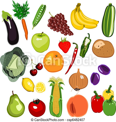 Illustrations vectoris es de fruit l gume ensemble - Fruit ou legume en y ...