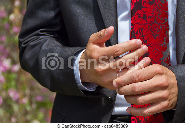 Hands of a bridegroom - csp6483369
