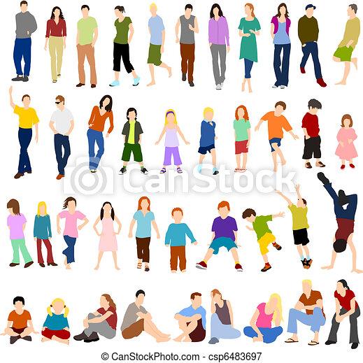 Lots of Men Women and Children - csp6483697