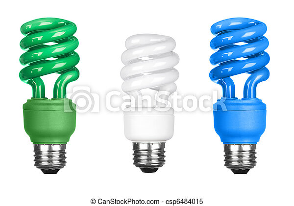 Energy efficient light bulbs on white - csp6484015