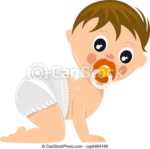 Baby Diaper Illustration Crawling Baby Boy in Diaper