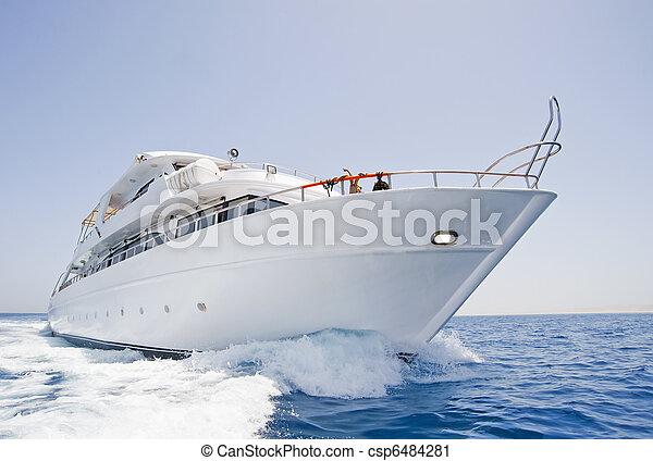 Large motor yacht under way at sea - csp6484281