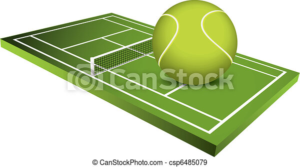 3d Tennis field vector - csp6485079