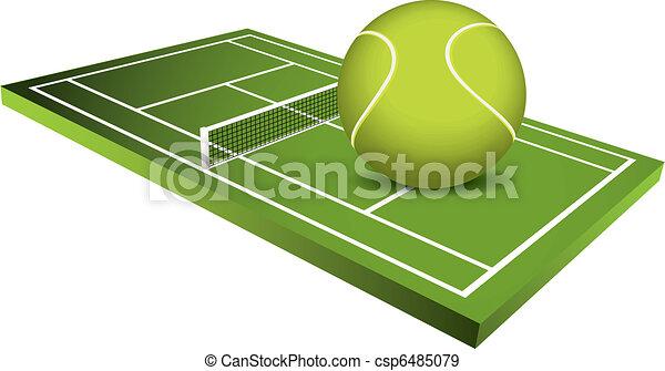 3d Tennis field vector - csp6485079