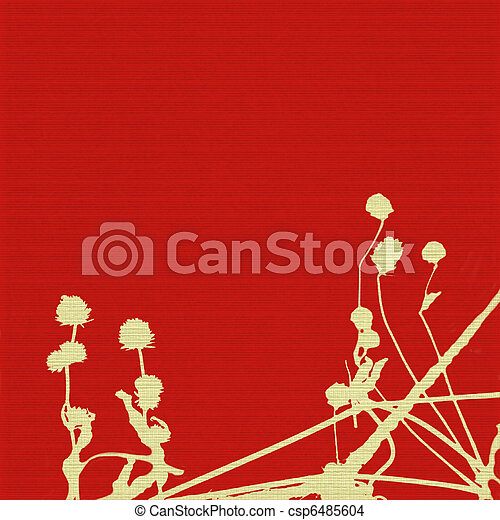 Seed heads and stems on red ribbed background  - csp6485604