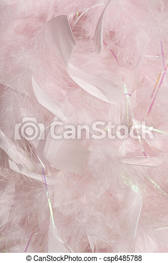 Fluffy pink feathers in sunlight background - csp6485788
