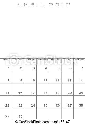 April 2012 calendar template - csp6487167