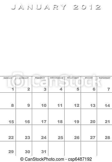 January 2012 calendar template - csp6487192