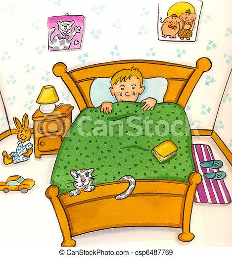 stock illustration von kind in bett csp6487769  suchen