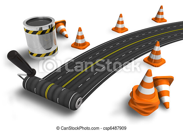 Painting the road with roller brush - csp6487909