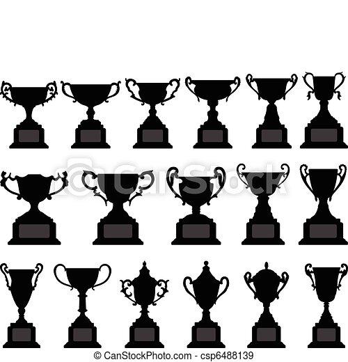 Trophy Cup Silhouette Black Set - csp6488139