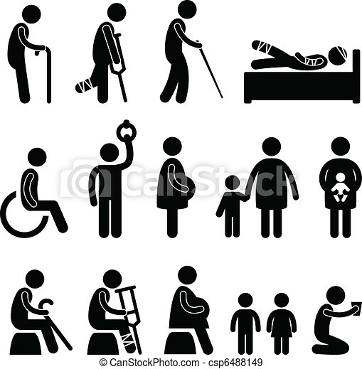 Old man patient blind disable icon - csp6488149