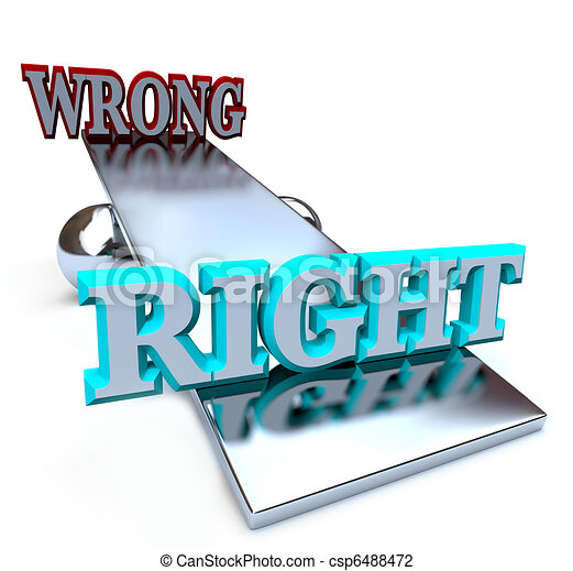 Right vs Wrong - See Saw Balancing Ethical Decisions - csp6488472