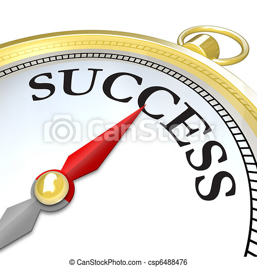 Compass Arrow Pointing to Success Reaching Goal - csp6488476