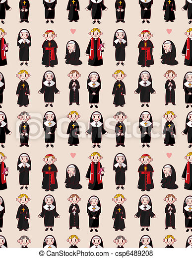 cartoon priest and nun seamless pattern - csp6489208