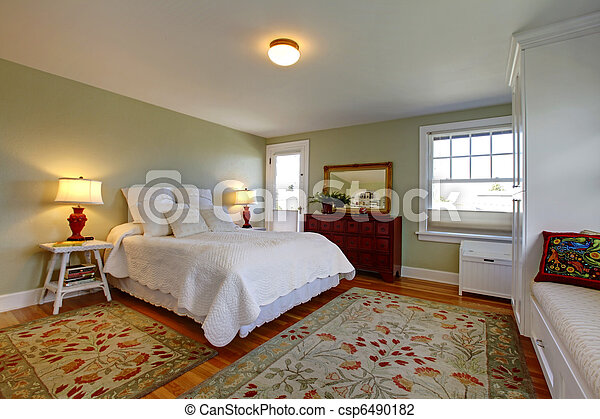 Photo Confortable Chambre Coucher Blanc Literie