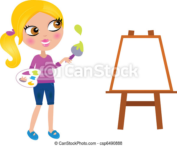 Cartoon happy little Painter girl with paint brush