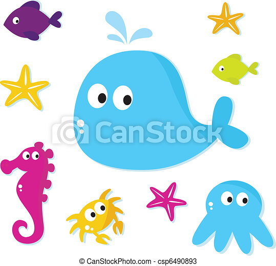 Cartoon Sea fishes and animals icons isolated on white backgroun - csp6490893