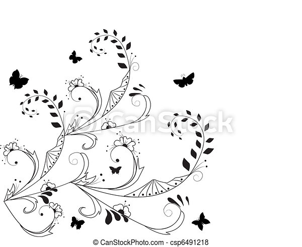vector floral background whit butterfly - csp6491218