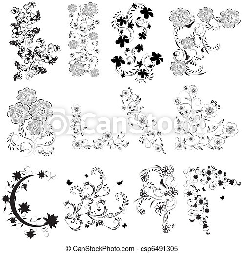 black and white flowers angle set - csp6491305