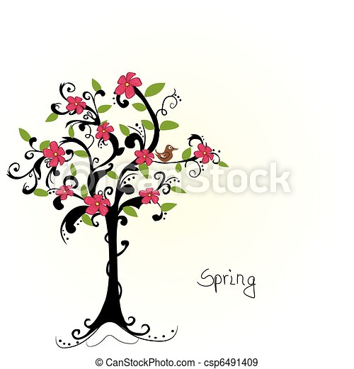 abstract tree with cherry blossoms - vector - csp6491409