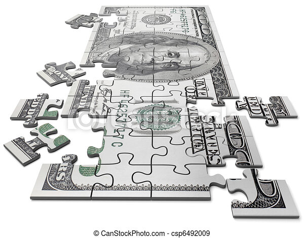 Puzzle in the form of currency of the USA - csp6492009