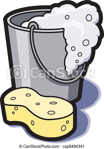 Bucket of Water and Sponge - csp6494341
