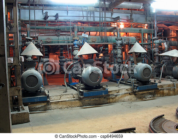 Electric motors driving water pumps at power plant - csp6494659