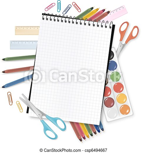 Back to school. Notepad with school - csp6494667