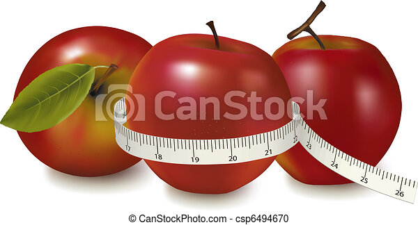 Three red apples measured the meter - csp6494670