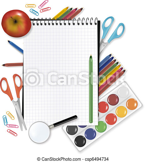 Back to school. Note with supplies - csp6494734