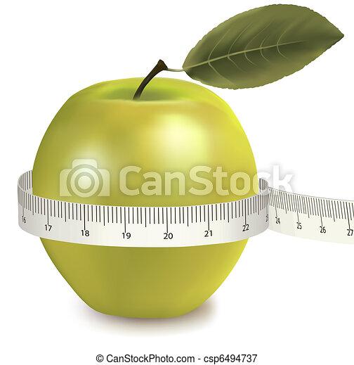 Green apple measured the meter. - csp6494737