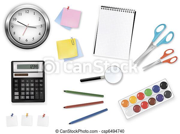 Big set of school supplies. Vector. - csp6494740