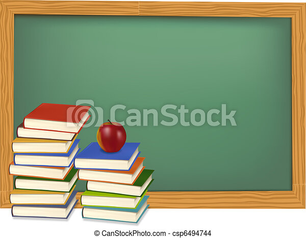 School books on the desk. Vector. - csp6494744
