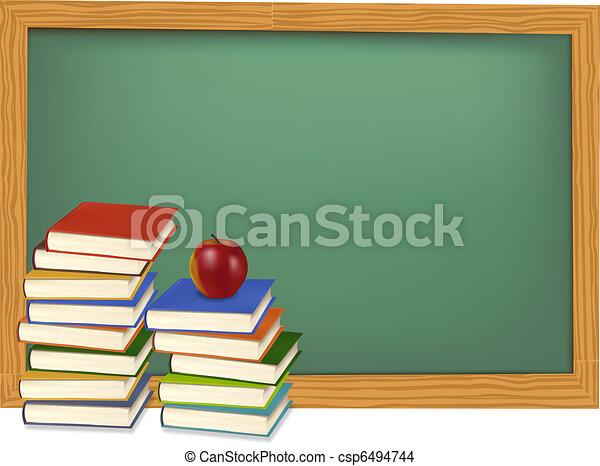 School books on the desk. Vector.  - csp6494744