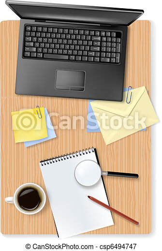 laptop and office supplies - csp6494747