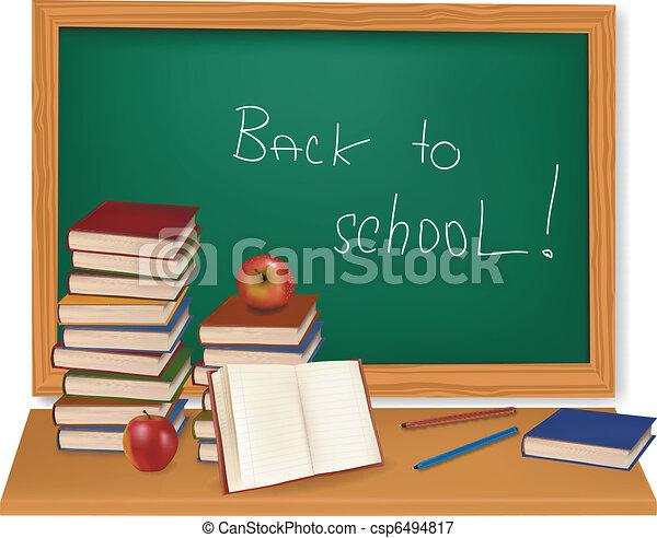 School books on the desk. Vector.  - csp6494817