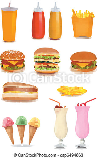 Big set of fast food products. - csp6494863