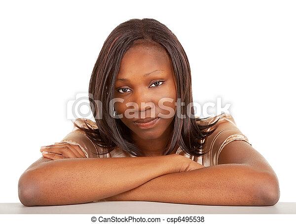 深刻, アフリカ, アメリカ人, 女性 - cs... a, 肖像画, 美しい, 深刻, アフリ