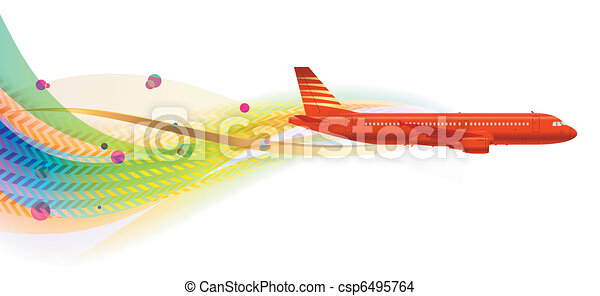 aircraft on wavy background - csp6495764