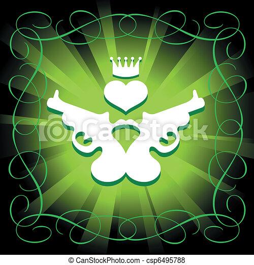 guns, heart and crown - csp6495788