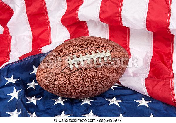 Football on American Flag - csp6495977