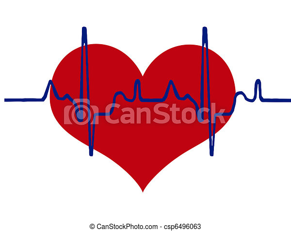 Heart and heartbeat background - csp6496063