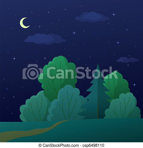Landscape, night summer forest - csp6498110