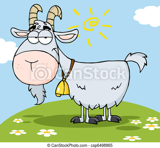 Goat Cartoon Character On A Hil - csp6498865