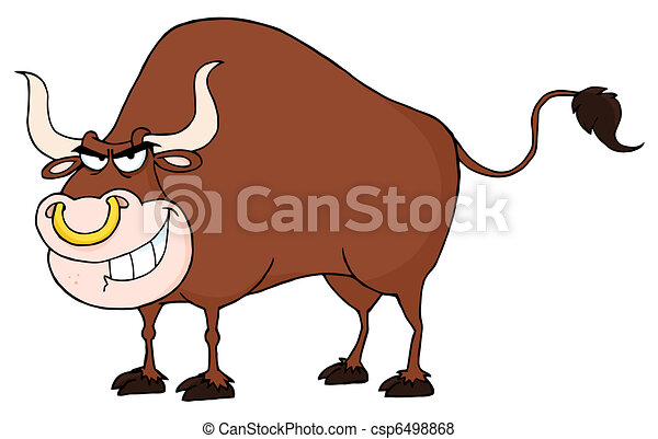 Bull Cartoon Character - csp6498868