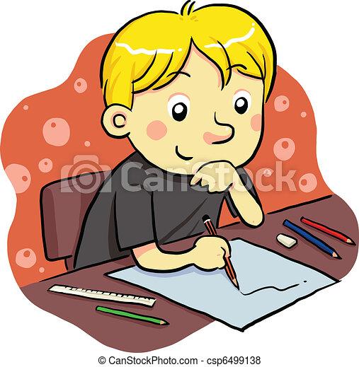 Vector de estudiar - niño, estudiar, el suyo, futuro csp6499138 ...