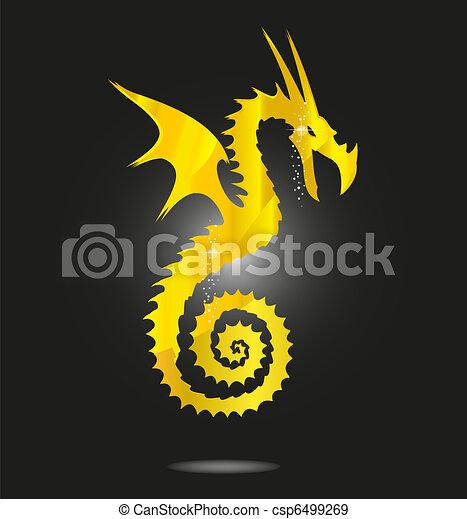 magic gold asia dragon isolated - csp6499269