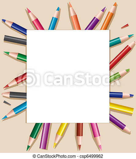 colored pencils under blank sheet of paper, vector illustration - csp6499962