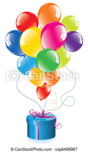 vector bunch of colorful balloons and a gift box - csp6499967